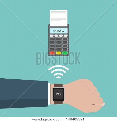 Payment Approved Concept. Payment Through Smart Watch With Wireless.