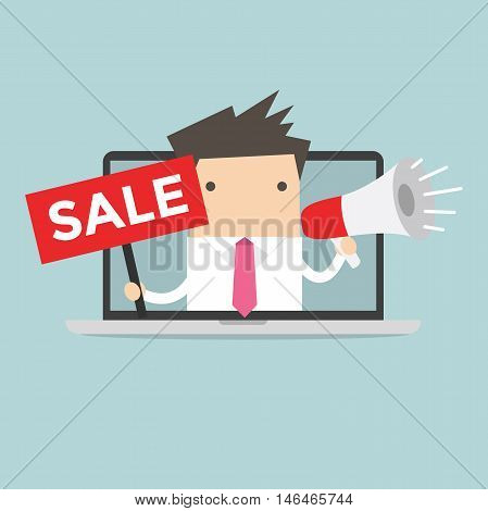 Businessman with sale sign. Online advertising vector illustration