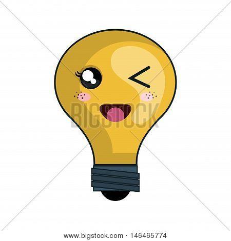 kawaii yellow cartoon cute light bulb with happy face. vector illustration