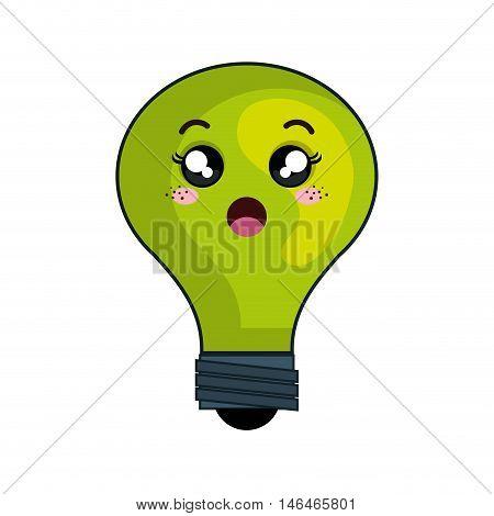 kawaii green cartoon cute light bulb with surprise face. vector illustration