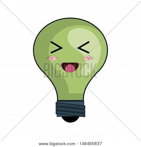 kawaii green cartoon cute light bulb with happy face. vector illustration