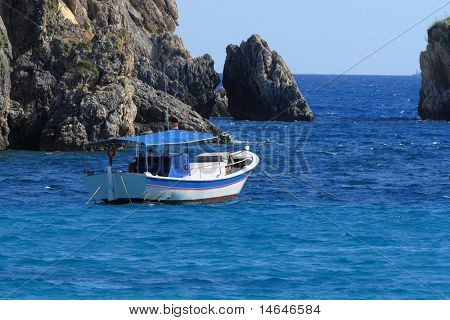 Fishing boat in the Ionian sea Greece
