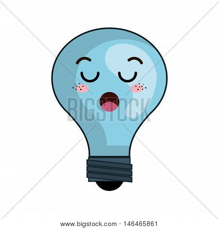 kawaii cartoon cute light bulb with surprise face. vector illustration
