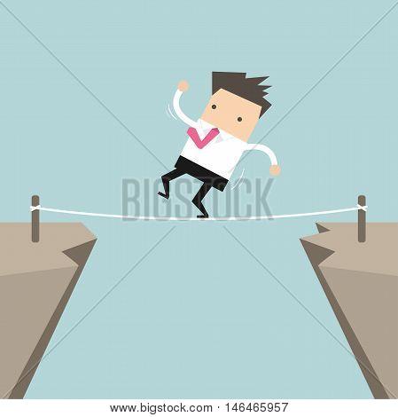 Businessman Walk Over Cliff Gap Mountain Business Man Balancing Wooden Stick Bridge vector