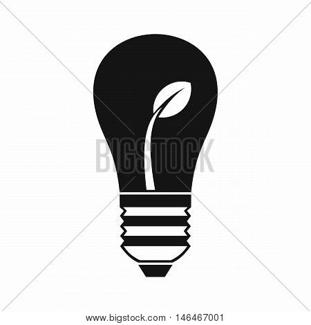 Ecology idea bulb with plant in simple style isolated on white background vector illustration