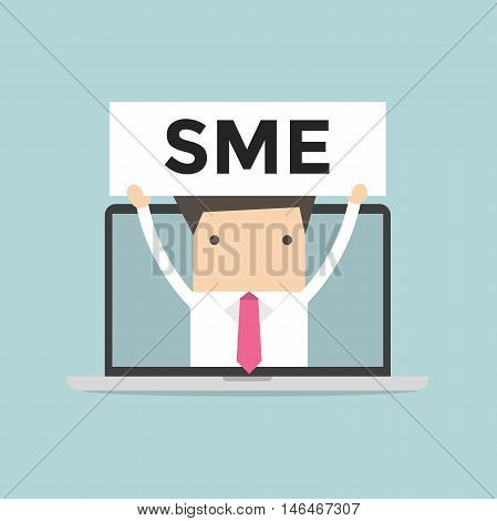 Businessman holding SME sign in computer notebook