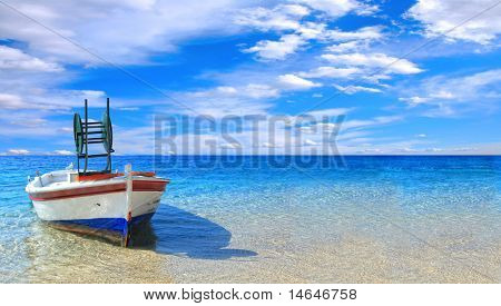 Fishing boat in the Ionian sea in Greece