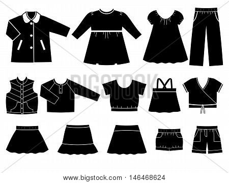 Icon set children's clothes for girls. Collection of clothing on white background. Vector illustration.