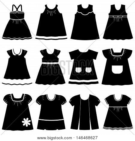 Icon set children's summer dresses. Collection cute clothes for girls on white background. Vector illustration.