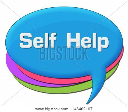 Self help text written over colorful comment symbol.