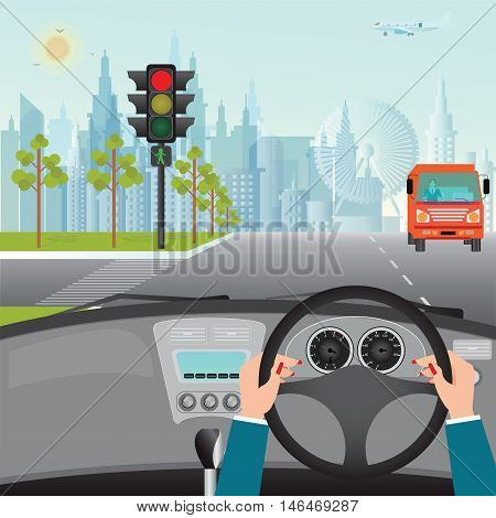 Human hands driving a car on asphalt road and waiting for the traffic light car interior flat design vector illustration.