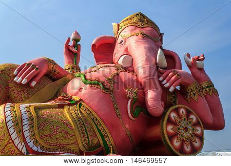 The biggest Ganesha statue in public temple Thailand.