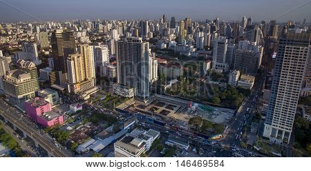 BANGKOK THAILAND - MAY 3 : aerial view of high residence and business skyscraper in heart of bangkok on may 3 2016 in bangkok thailand
