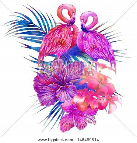 Watercolor pink flamingos, exotic birds, tropical flowers, palm leaves, hibiscus, botanical succulent illustration isolated on white background