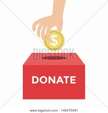 Donate Money To Charity Concept Vector Illustration
