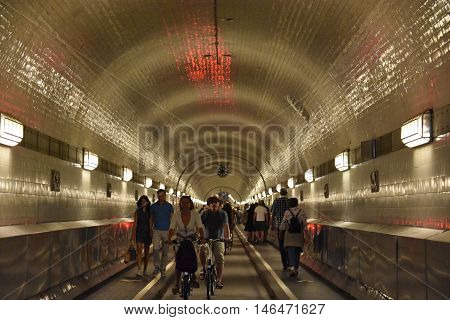 HAMBURG, GERMANY - AUG 27: Old Elbe Tunnel in Hamburg, Germany, as seen on Aug 27, 2016. Opened in 1911, it is a 1,398 ft long pedestrian and vehicle tunnel.