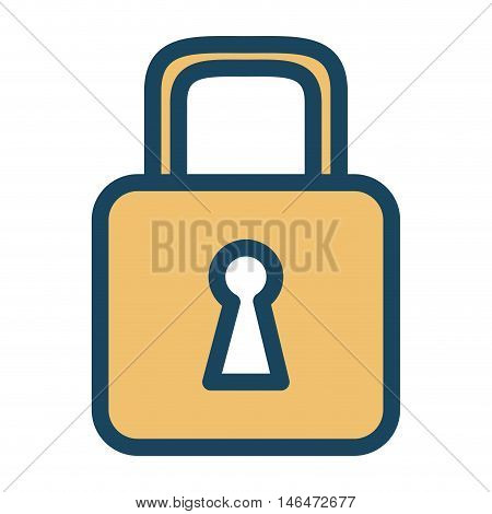 security lock closed  with keyhole. safety protection element. vector illustration
