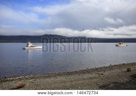 beautiful sceninc of lake te anau south island new zealand important traveling destination