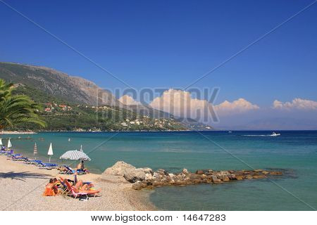 dassia beach  on Corfu island Greece