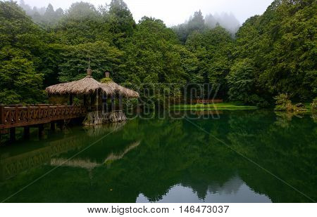 Elder Sister Pond and gazebo at Alishan National Forest in Chiayi District, Taiwan