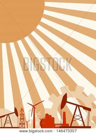 Energy and Power icons set . Sustainable energy generation and heavy industry. Vector illustration. Sun rays backdrop