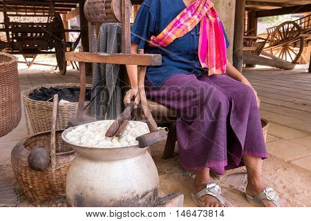 Boiling silkworm cocoon in the pot, Thailand