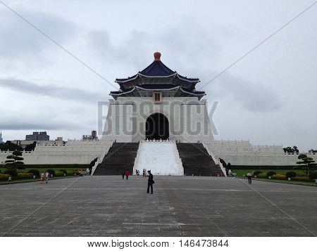 TAIPEI TAIWAN - MAY 6 : Unidentified tourists visit at Chiang Kai-Shek Memorial Hall in Taipei. Chiang Kai-shek Memorial Hall is a popular travel destination among tourists visiting Taiwan on May 62013