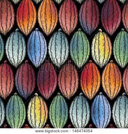 Watercolor cocoa fruits seamless pattern. Hand drawn exotic cacao plants in different color