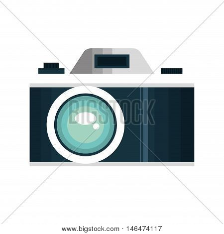 blue photographic camera. photography technology device. vector illustration
