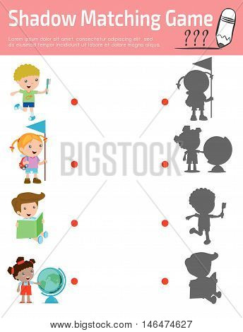 Shadow Matching Game for kids, Visual game for kid. Connect the dots picture,Education Vector Illustration.