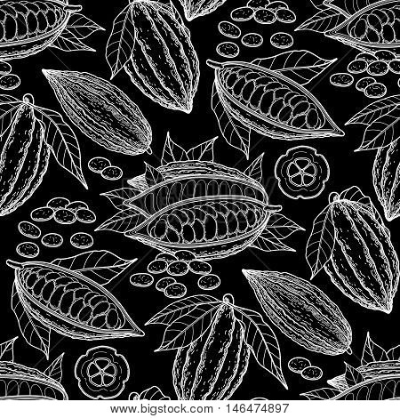Graphic cocoa fruits. Exotic cacao plants. Vector seamless pattern