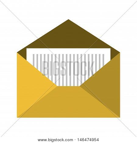 open yellow mail envelope letter correspondence. front view. vector illuatration