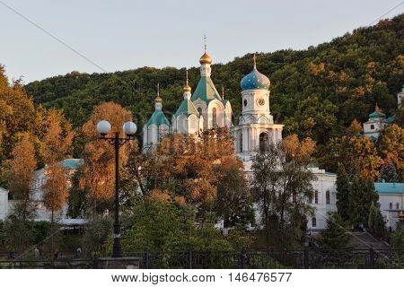 Intercession Church and Cathedral of the Assumption - the temples of Holy Assumption Sviatohirsk Monastery. Ukraine Donetsk region