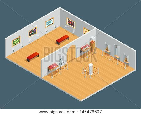 Isometric color illustration of museum interior with exhibit and painting vector illustration