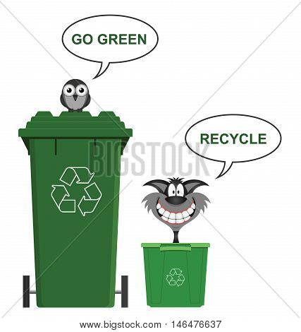 Go green recycle environmental message isolated on white background