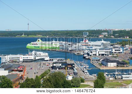 TALLINN, ESTONIA - AUGUST 01, 2015: Marine ferries in the passenger port of Tallinn. Tourist landmark of the city Tallinn, Estonia