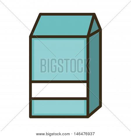 milk carton box blue with white stripe. beverage packaging. vector illustration
