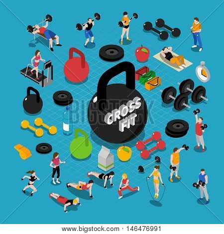 Gym and fitness isometric concept composition with training symbols isolated vector illustration
