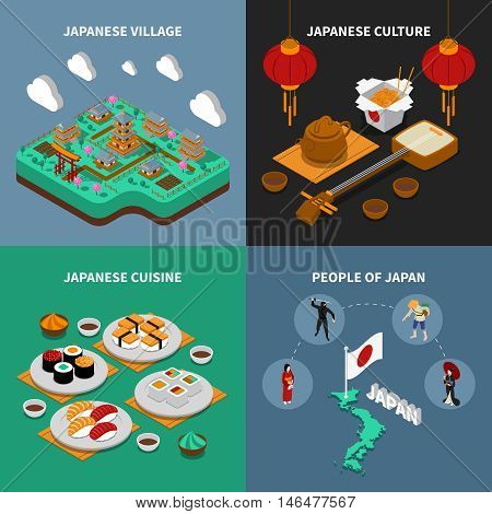 Colorful japan touristic isometric 2x2 icons set with japanese national cuisine culture people and village isolated vector illustration