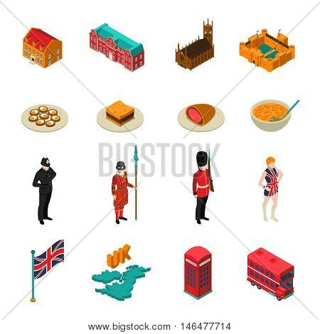 Colorful great britain isometric touristic set with british national cuisine architecture characters and symbols isolated on white background vector illustration