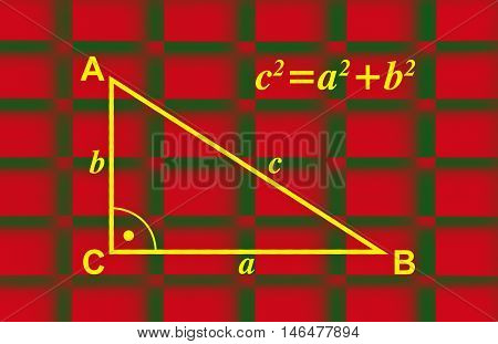 Illustration about the Pythagorean theorem with drawn triangle and formula