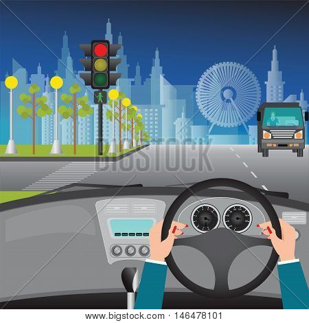Human hands driving a car on asphalt road and waiting for the traffic light on city view night scene car interior flat design vector illustration.