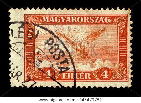 HUNGARY - CIRCA 1930: stamp printed by Hungary, shows mythical bird Turul, national symbol of modern Hungary, circa 1930
