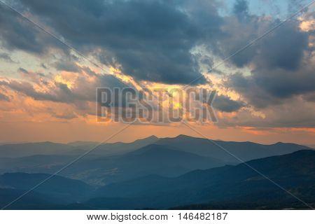 Majestic Sundown Sky and Mountains Range Background, Beautiful Landscape