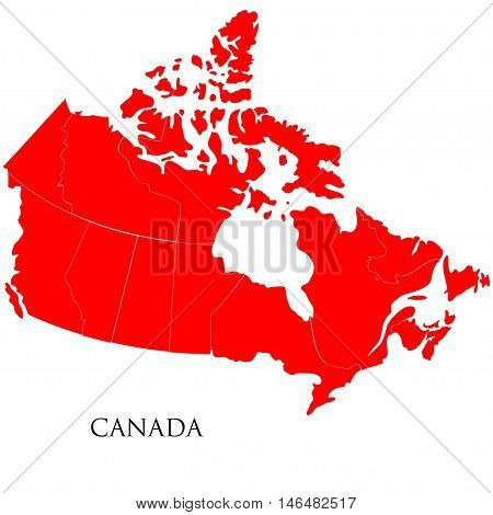 Detailed map of Canada isolated on white background