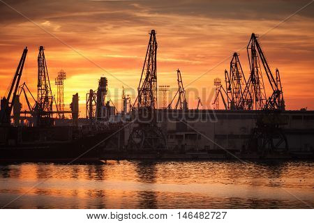Silhouettes Of Cranes And Industrial Ships In Port