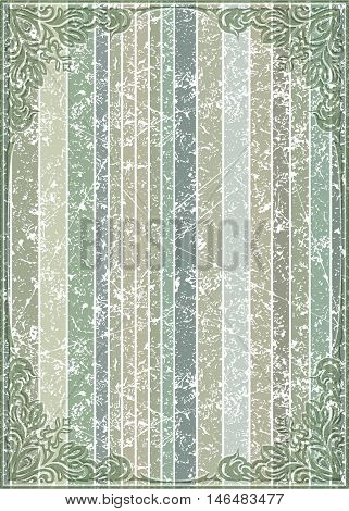 Old frame with cracked striped background in gentle tones.Retro vintage greeting card invitation or template for notes.