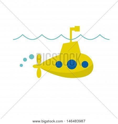 Vector sign cheerful yellow submarine on white