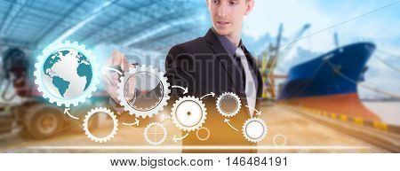 Businessman writing concept of supply chain management logistics with import export background