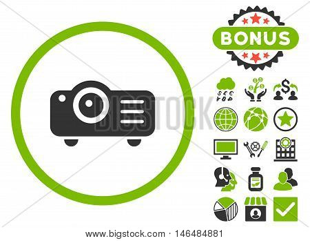 Projector icon with bonus. Vector illustration style is flat iconic bicolor symbols, eco green and gray colors, white background.